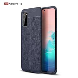 Luxury Auto Focus Litchi Texture Silicone TPU Back Cover for Samsung Galaxy S20 / S11e - Dark Blue