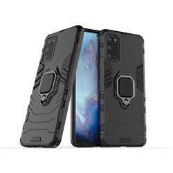 Black Panther Armor Metal Ring Grip Shockproof Dual Layer Rugged Hard Cover for Samsung Galaxy S20 / S11e - Black