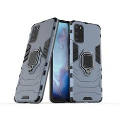 Black Panther Armor Metal Ring Grip Shockproof Dual Layer Rugged Hard Cover for Samsung Galaxy S20 / S11e - Blue