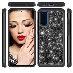 Glitter Rhinestone Bling Shock Absorbing Hybrid Defender Rugged Phone Case Cover for Samsung Galaxy S20 / S11e - Black