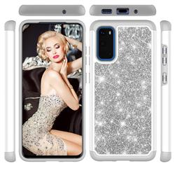 Glitter Rhinestone Bling Shock Absorbing Hybrid Defender Rugged Phone Case Cover for Samsung Galaxy S20 / S11e - Gray