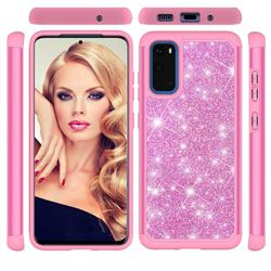 Glitter Rhinestone Bling Shock Absorbing Hybrid Defender Rugged Phone Case Cover for Samsung Galaxy S20 / S11e - Pink