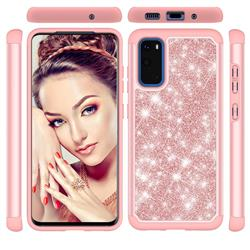 Glitter Rhinestone Bling Shock Absorbing Hybrid Defender Rugged Phone Case Cover for Samsung Galaxy S20 / S11e - Rose Gold