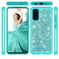 Glitter Rhinestone Bling Shock Absorbing Hybrid Defender Rugged Phone Case Cover for Samsung Galaxy S20 / S11e - Green