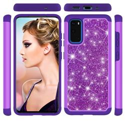 Glitter Rhinestone Bling Shock Absorbing Hybrid Defender Rugged Phone Case Cover for Samsung Galaxy S20 / S11e - Purple