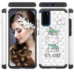 Tiny Unicorn Studded Rhinestone Bling Diamond Shock Absorbing Hybrid Defender Rugged Phone Case Cover for Samsung Galaxy S20 / S11e