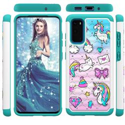 Fashion Unicorn Studded Rhinestone Bling Diamond Shock Absorbing Hybrid Defender Rugged Phone Case Cover for Samsung Galaxy S20 / S11e