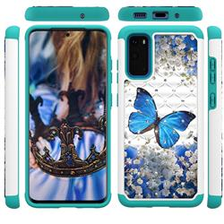 Flower Butterfly Studded Rhinestone Bling Diamond Shock Absorbing Hybrid Defender Rugged Phone Case Cover for Samsung Galaxy S20 / S11e