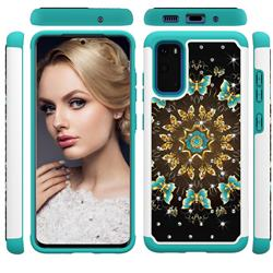 Golden Butterflies Studded Rhinestone Bling Diamond Shock Absorbing Hybrid Defender Rugged Phone Case Cover for Samsung Galaxy S20 / S11e