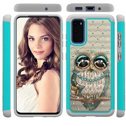 Sweet Gray Owl Studded Rhinestone Bling Diamond Shock Absorbing Hybrid Defender Rugged Phone Case Cover for Samsung Galaxy S20 / S11e