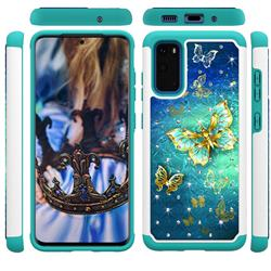 Gold Butterfly Studded Rhinestone Bling Diamond Shock Absorbing Hybrid Defender Rugged Phone Case Cover for Samsung Galaxy S20 / S11e