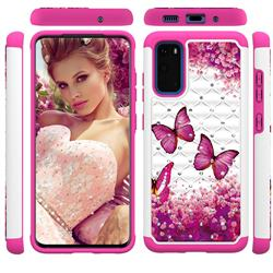 Rose Butterfly Studded Rhinestone Bling Diamond Shock Absorbing Hybrid Defender Rugged Phone Case Cover for Samsung Galaxy S20 / S11e