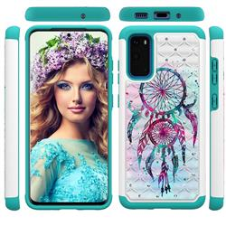 Color Drops Wind Chimes Studded Rhinestone Bling Diamond Shock Absorbing Hybrid Defender Rugged Phone Case Cover for Samsung Galaxy S20 / S11e