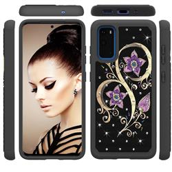 Peacock Flower Studded Rhinestone Bling Diamond Shock Absorbing Hybrid Defender Rugged Phone Case Cover for Samsung Galaxy S20 / S11e