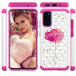 Watercolor Studded Rhinestone Bling Diamond Shock Absorbing Hybrid Defender Rugged Phone Case Cover for Samsung Galaxy S20 / S11e