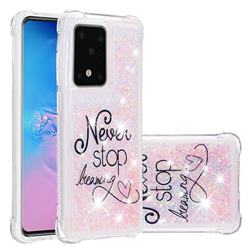 Never Stop Dreaming Dynamic Liquid Glitter Sand Quicksand Star TPU Case for Samsung Galaxy S20 / S11e