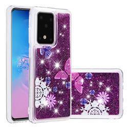 Purple Flower Butterfly Dynamic Liquid Glitter Quicksand Soft TPU Case for Samsung Galaxy S20 / S11e