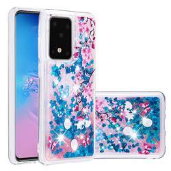 Blue Plum Blossom Dynamic Liquid Glitter Quicksand Soft TPU Case for Samsung Galaxy S20 / S11e