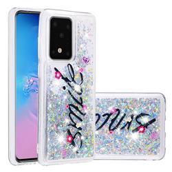 Smile Flower Dynamic Liquid Glitter Quicksand Soft TPU Case for Samsung Galaxy S20 / S11e