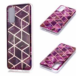 Purple Rhombus Galvanized Rose Gold Marble Phone Back Cover for Samsung Galaxy S20 / S11e