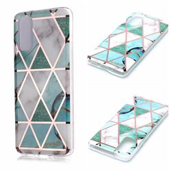 Green White Galvanized Rose Gold Marble Phone Back Cover for Samsung Galaxy S20 / S11e