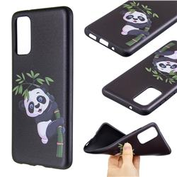 Bamboo Panda 3D Embossed Relief Black Soft Back Cover for Samsung Galaxy S20 / S11e