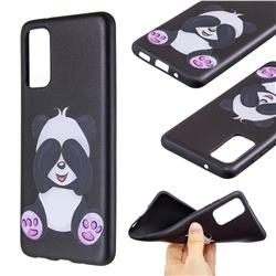 Lovely Panda 3D Embossed Relief Black Soft Back Cover for Samsung Galaxy S20 / S11e