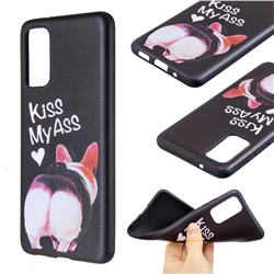 Lovely Pig Ass 3D Embossed Relief Black Soft Back Cover for Samsung Galaxy S20 / S11e