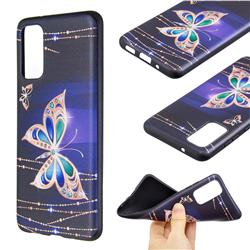 Golden Shining Butterfly 3D Embossed Relief Black Soft Back Cover for Samsung Galaxy S20 / S11e