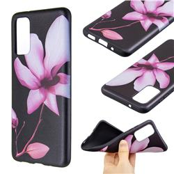 Lotus Flower 3D Embossed Relief Black Soft Back Cover for Samsung Galaxy S20 / S11e