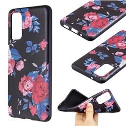 Safflower 3D Embossed Relief Black Soft Back Cover for Samsung Galaxy S20 / S11e