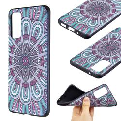 Mandala 3D Embossed Relief Black Soft Back Cover for Samsung Galaxy S20 / S11e