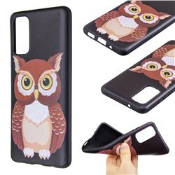 Big Owl 3D Embossed Relief Black Soft Back Cover for Samsung Galaxy S20 / S11e