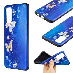 Golden Butterflies 3D Embossed Relief Black Soft Back Cover for Samsung Galaxy S20 / S11e