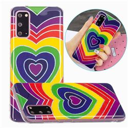 Rainbow Heart Painted Galvanized Electroplating Soft Phone Case Cover for Samsung Galaxy S20