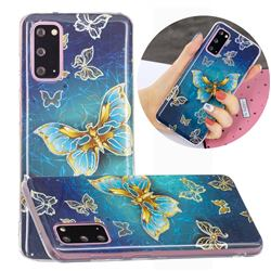 Golden Butterfly Painted Galvanized Electroplating Soft Phone Case Cover for Samsung Galaxy S20