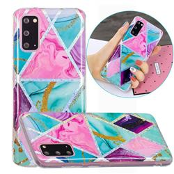 Triangular Marble Painted Galvanized Electroplating Soft Phone Case Cover for Samsung Galaxy S20