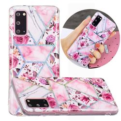 Rose Flower Painted Galvanized Electroplating Soft Phone Case Cover for Samsung Galaxy S20