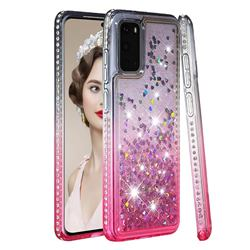 Diamond Frame Liquid Glitter Quicksand Sequins Phone Case for Samsung Galaxy S20 - Gray Pink