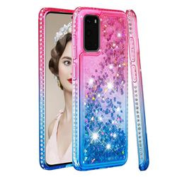 Diamond Frame Liquid Glitter Quicksand Sequins Phone Case for Samsung Galaxy S20 - Pink Blue