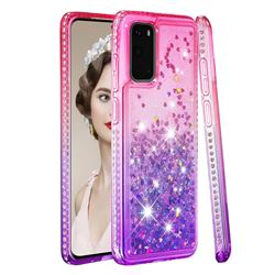Diamond Frame Liquid Glitter Quicksand Sequins Phone Case for Samsung Galaxy S20 - Pink Purple