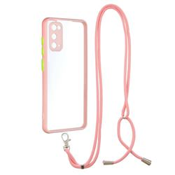 Necklace Cross-body Lanyard Strap Cord Phone Case Cover for Samsung Galaxy S20 - Pink