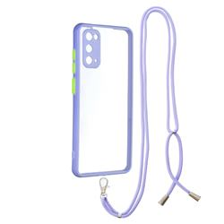 Necklace Cross-body Lanyard Strap Cord Phone Case Cover for Samsung Galaxy S20 - Purple
