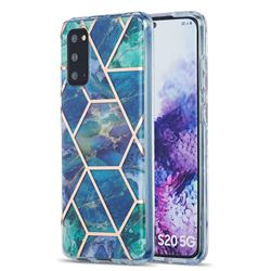 Blue Green Marble Pattern Galvanized Electroplating Protective Case Cover for Samsung Galaxy S20