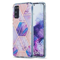 Purple Dream Marble Pattern Galvanized Electroplating Protective Case Cover for Samsung Galaxy S20