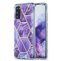 Purple Gagic Marble Pattern Galvanized Electroplating Protective Case Cover for Samsung Galaxy S20