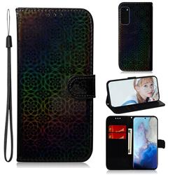 Laser Circle Shining Leather Wallet Phone Case for Samsung Galaxy S20 / S11e - Black