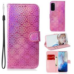 Laser Circle Shining Leather Wallet Phone Case for Samsung Galaxy S20 / S11e - Pink