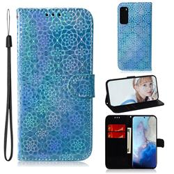 Laser Circle Shining Leather Wallet Phone Case for Samsung Galaxy S20 / S11e - Blue