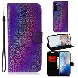 Laser Circle Shining Leather Wallet Phone Case for Samsung Galaxy S20 / S11e - Purple